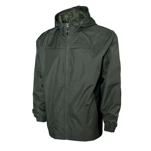 Men's Lightweight Rain Jacket, Green/Blk, swatch