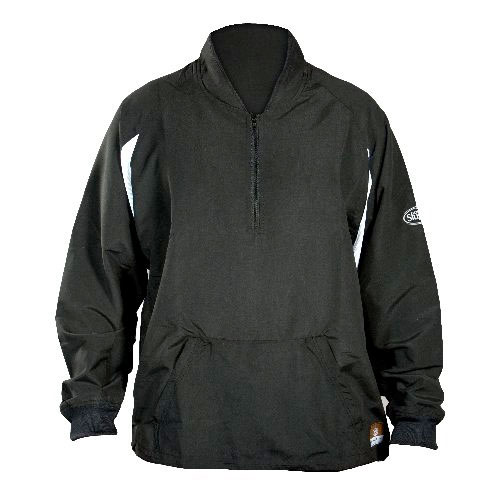 Youth Long Sleee Batting Cage Pull-over Jacket, Black, swatch