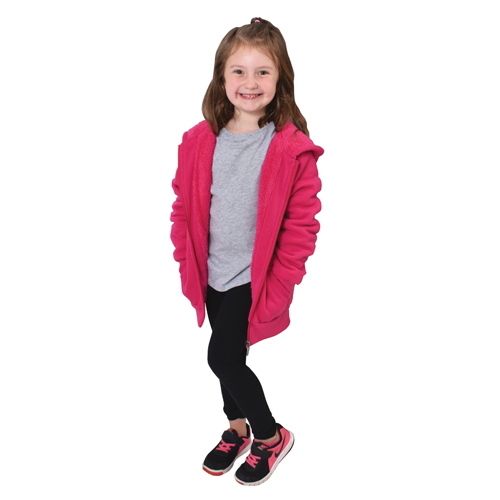 Girl's Sherpa Hooded Jacket, Pink, swatch