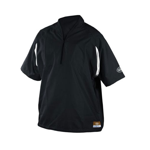 Adult Batting Cage Pull Over Jacket, Black, swatch