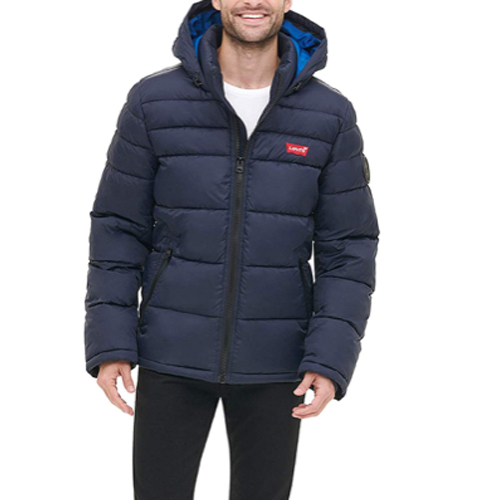 Men's Mid-Length Quilted Puffer Jacket, Navy, swatch
