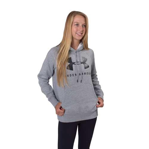 Women's Rival Fleece Sportstyle Graphic Hoodie, Heather Gray, swatch