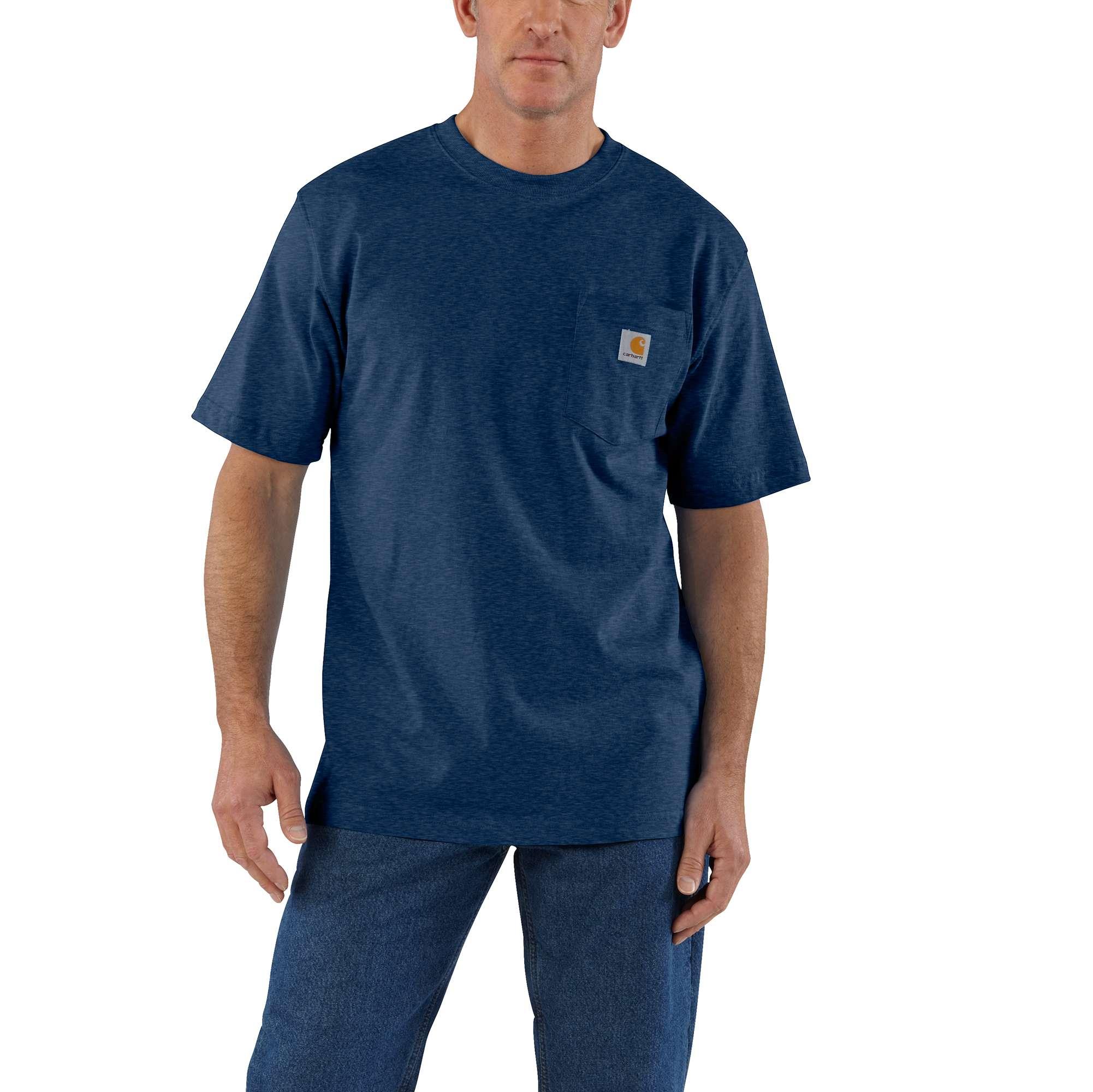 Men's Big & Tall Workwear Pocket T-shirt, Heather Blue, swatch