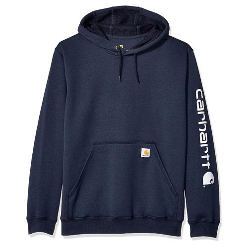 Men's Midweight Signature Logo Sleeve Hooded Sweatshirt, Navy/Blue, swatch
