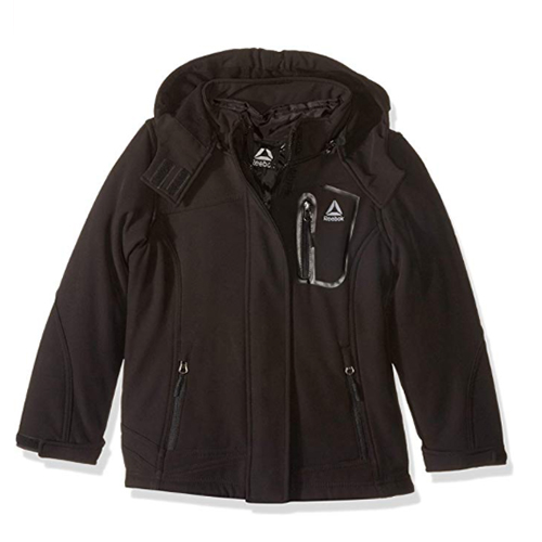 Girls' Softshell Jacket, Black, swatch