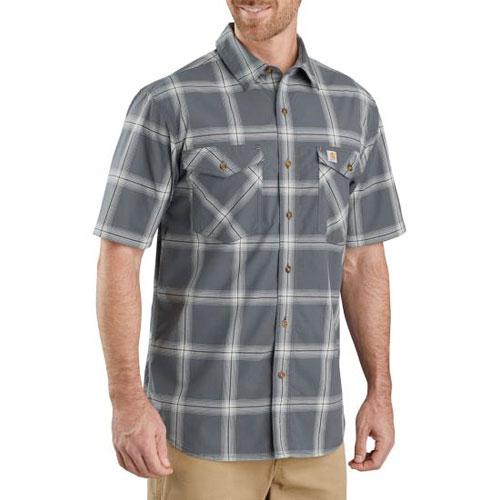 Men's Rugged Flex Relaxed Fit Lightweight Plaid Shirt, Gray, swatch