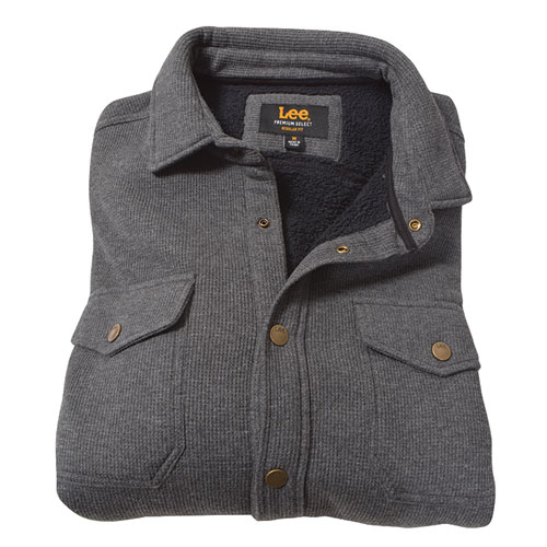 Men's Sherpa Thermal Shirt Jacket, Heather Gray, swatch