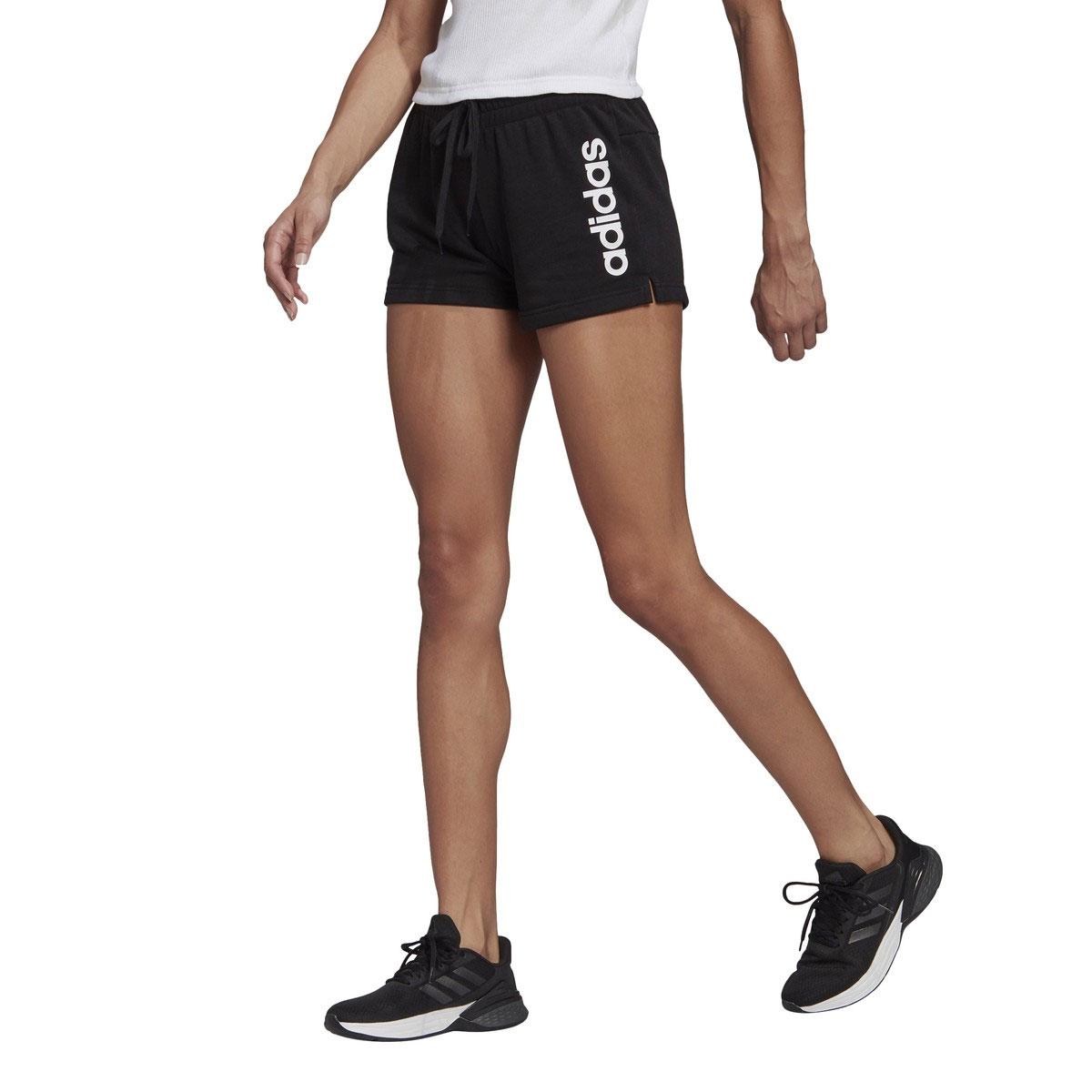 Women's Linear Shorts, Black/White, swatch