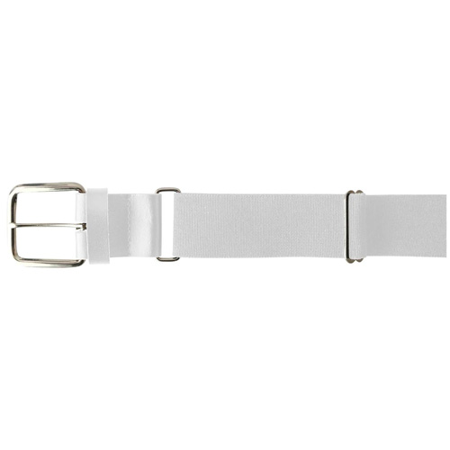 "1.5"" Leather Baseball Belt, White, swatch"