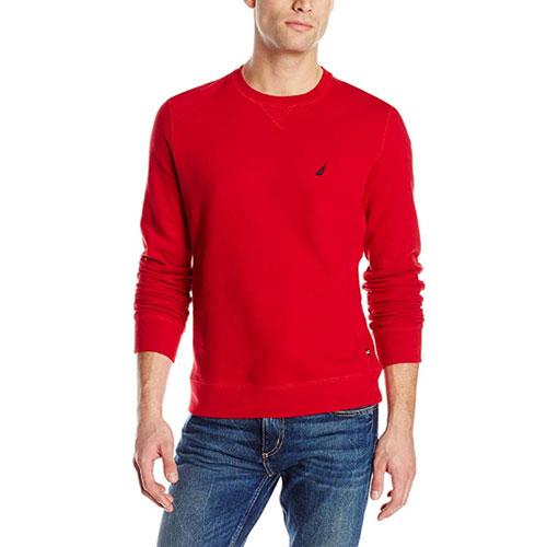 Men's Crew Neck Solid Fleece, Red, swatch
