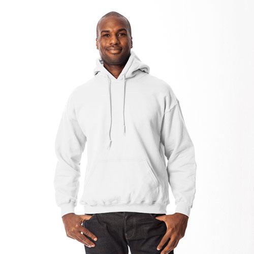 Men's Long Sleeve Fleece Pullover Hoodie, White, swatch
