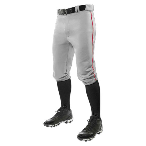 Men's Triple Crown Knicker Baseball Pants, Gray/Red, swatch