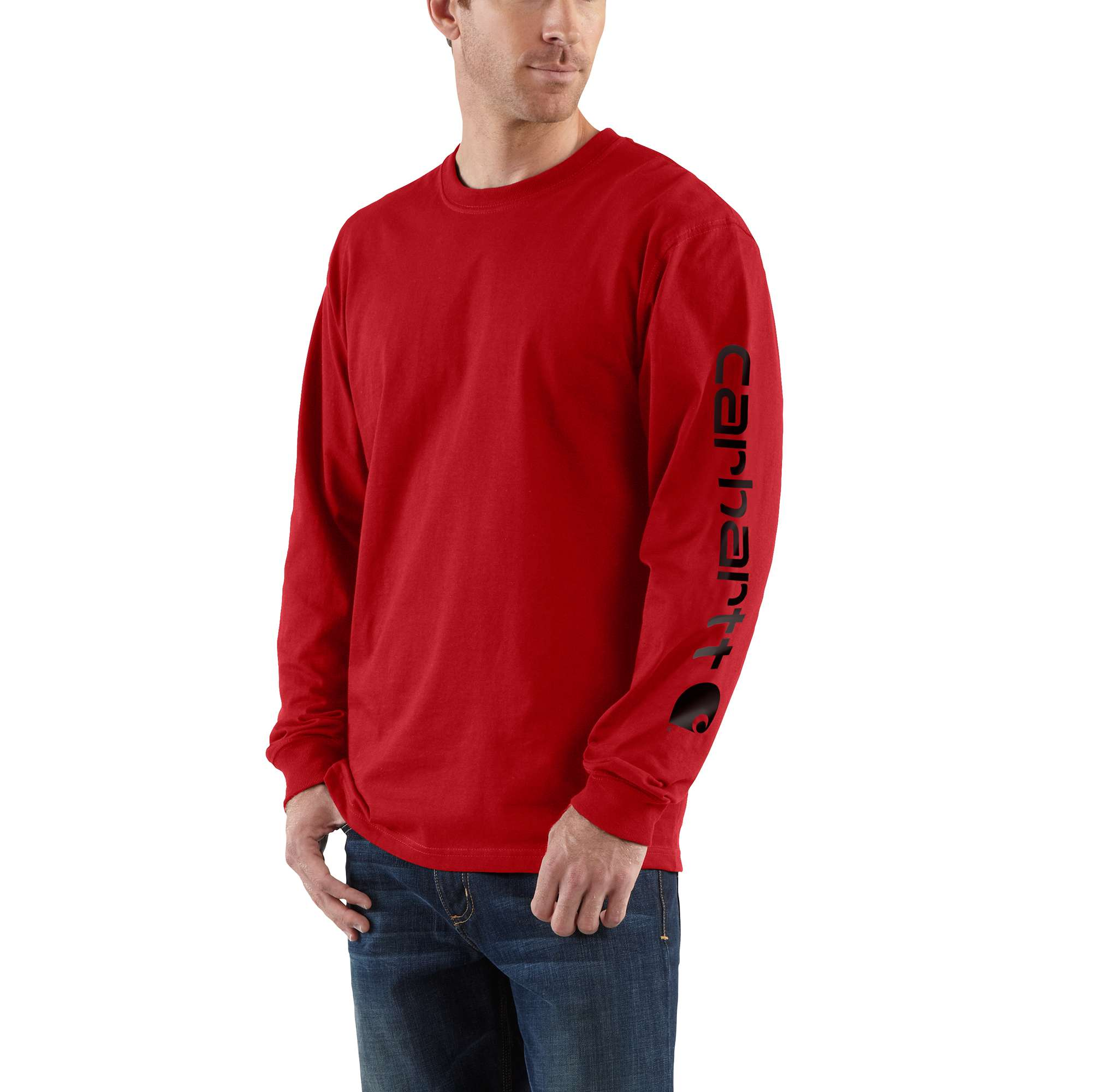 Men's Workwear Long-Sleeve Graphic Logo T-Shirt, Red, swatch