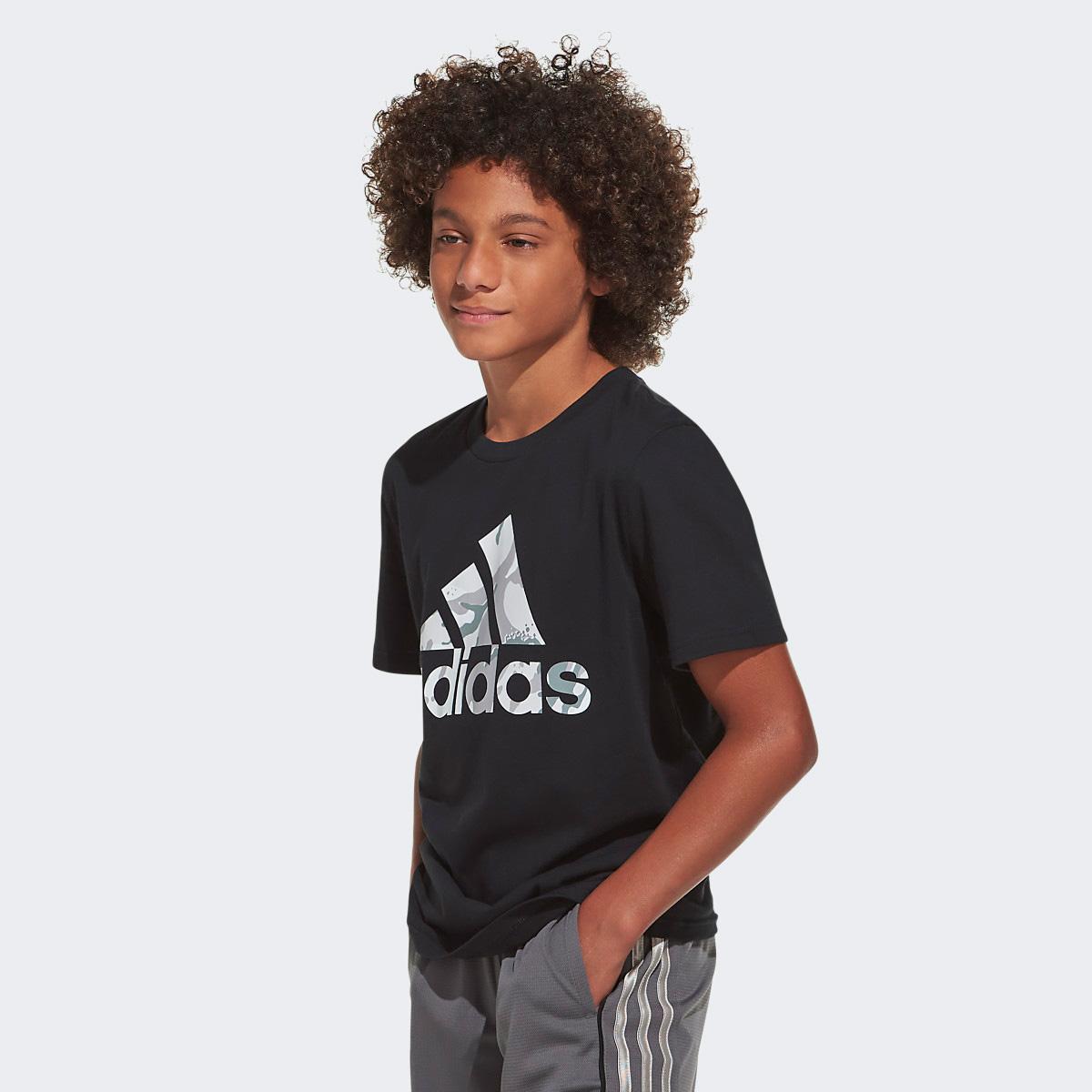 Boys' Short Sleeve Classic Camo Badge Of Sport Tee, Black, swatch