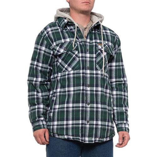 Fleece Lined Flannel Shirt Jacket, Hunter Green, swatch