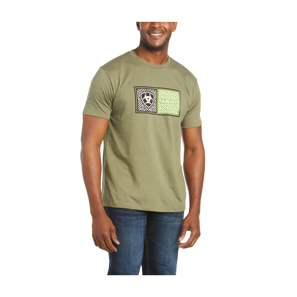 Mens Ariat Double Short Sleeve T Shirt, Dkgreen,Moss,Olive,Forest, swatch