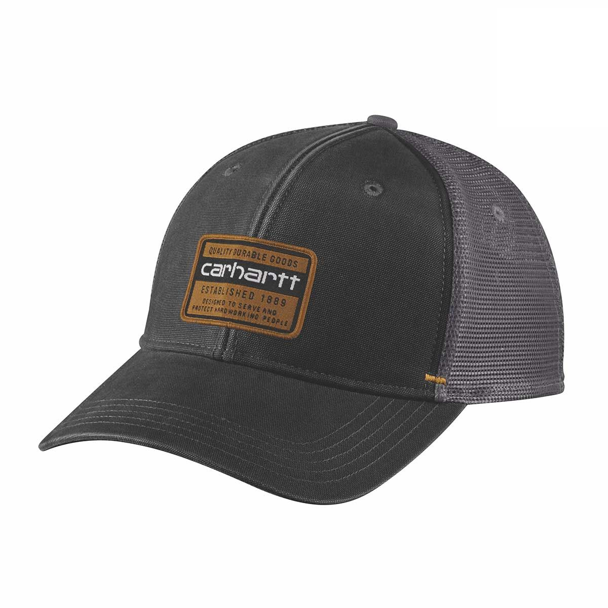Men's Canvas Mesh Back Graphic Cap, Black, swatch