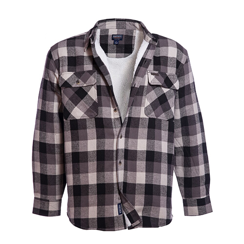 Men's Faux Sherpa Lined Flannel Shirt Jacket, Tan/Brown, swatch