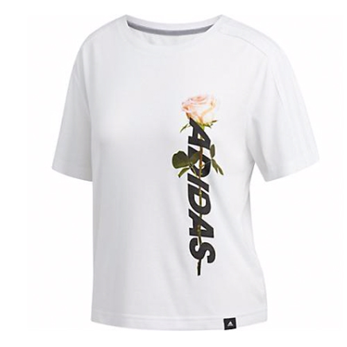 Women's Floral Crop Tee, White, swatch