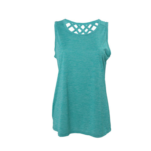 Poly Jersey Tank Tip with Back Straps, Green Blue, Teal, swatch