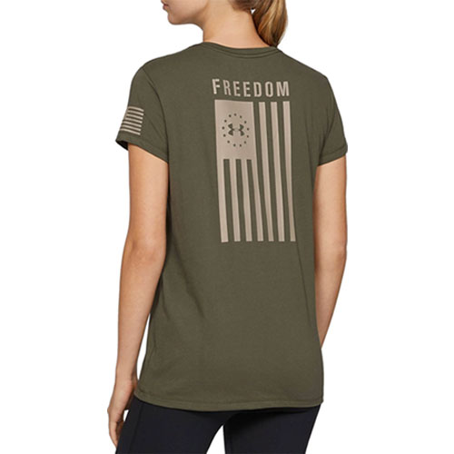 Women's Freedom Flag Tee, Dkgreen,Moss,Olive,Forest, swatch