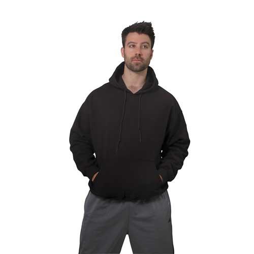 Men's Long Sleeve Fleece Pullover Hoodie, Black, swatch