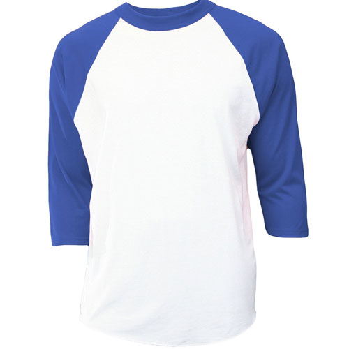 Youth 3/4 Sleeve Baseball Shirt, White/Royal, swatch