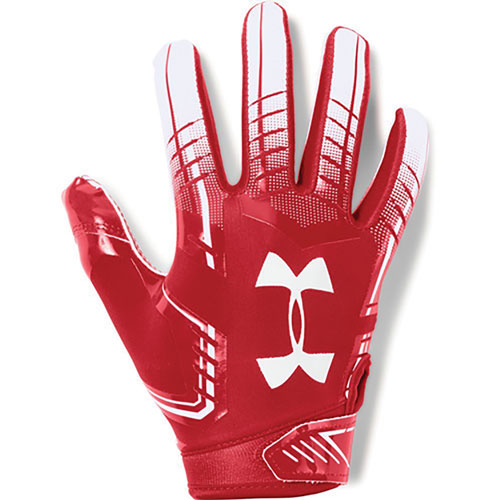 Adult F6 Football Gloves, White/Red, swatch