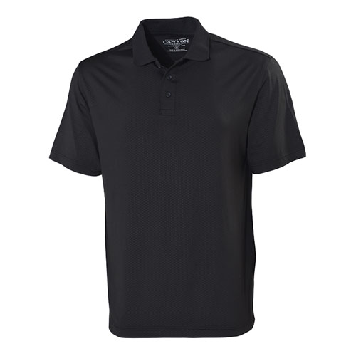 Men's Dimple UPF Short Sleeve Polo Shirt, Black, swatch
