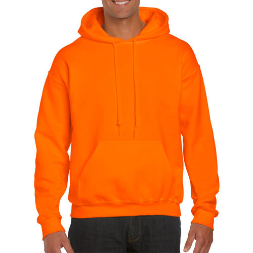 Men's Extdended Sizes Long Sleeve Hoodie, Florescent Orange, swatch