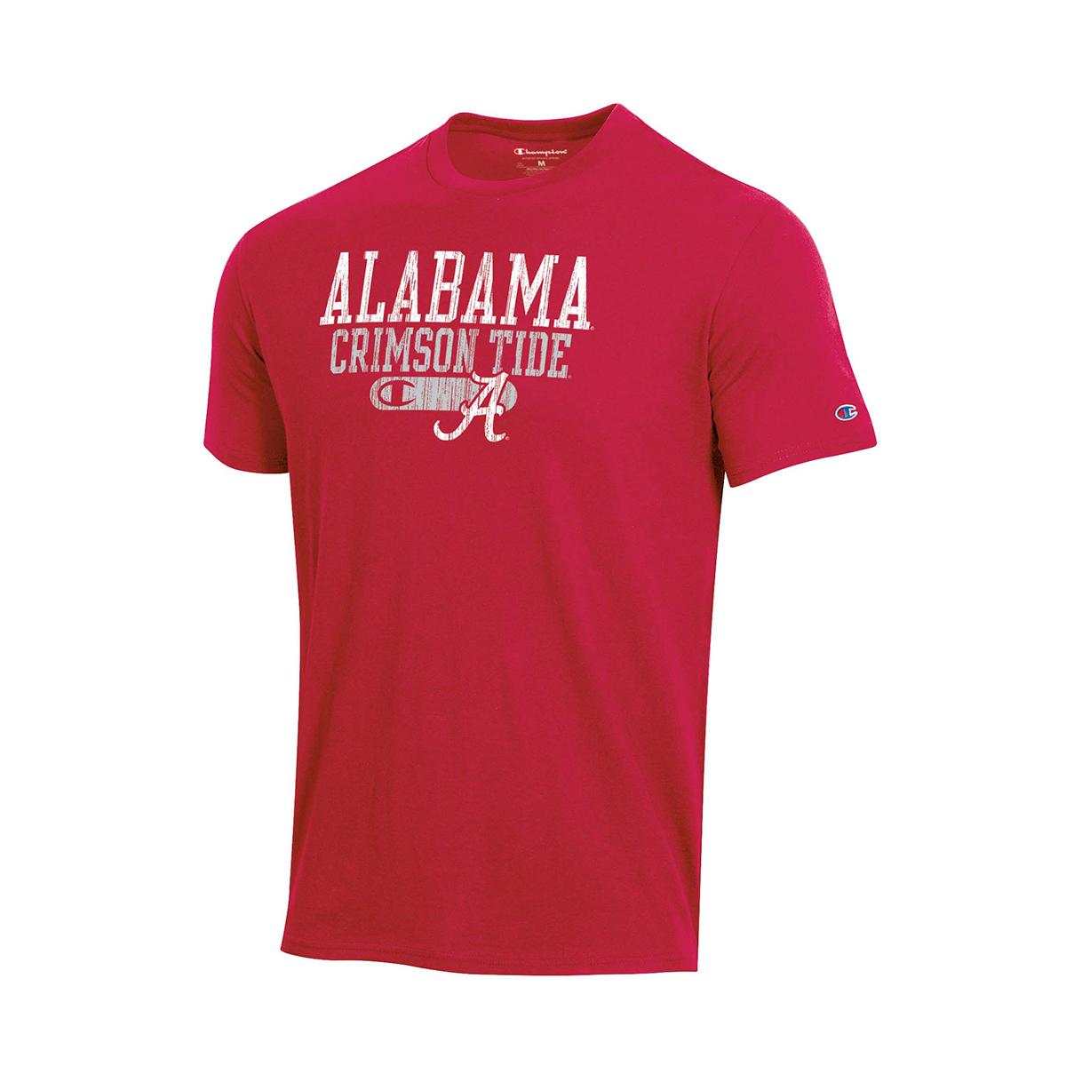 Alabama Bar Script Short Sleeve Shirt, Crimson, swatch