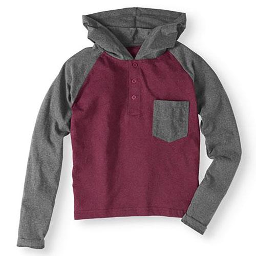 Men's Black Raglan Jacket, Black/Red, swatch