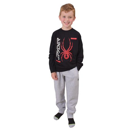 Boy's Big Logo Long Sleeve T-Shirt, Black/Red, swatch