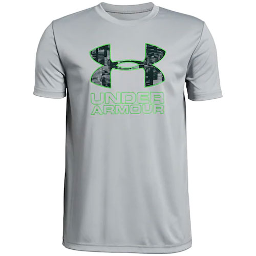 Boy's Under Armour Print Logo Tee, Lt Gray,Dove Gray, swatch