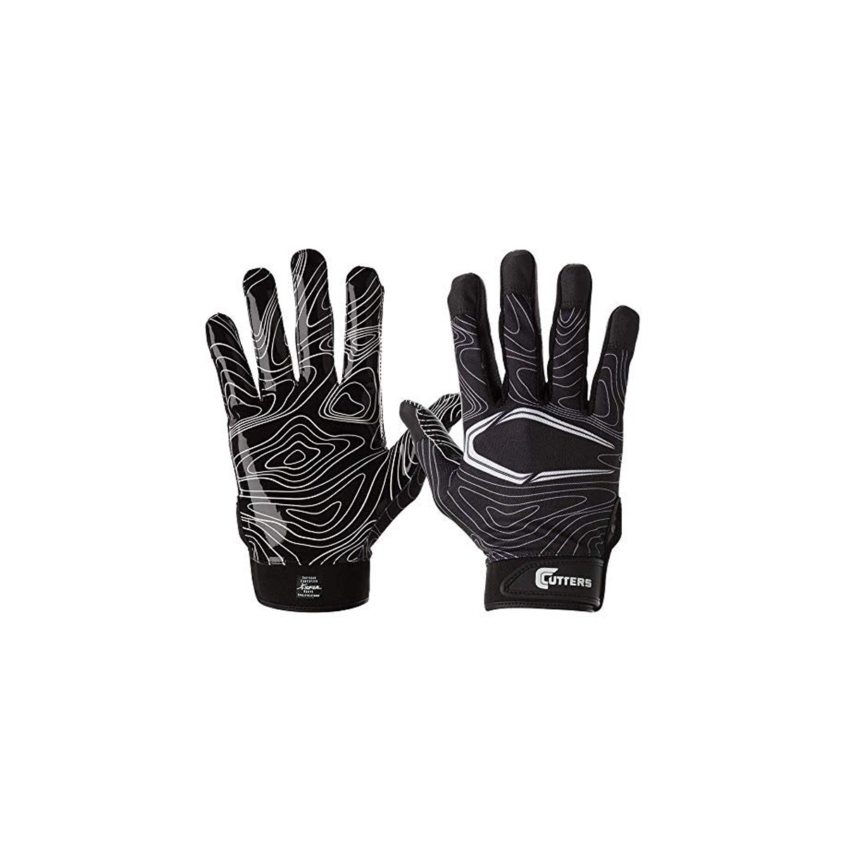 Youth Football Game Day Receiver Gloves, Black, swatch