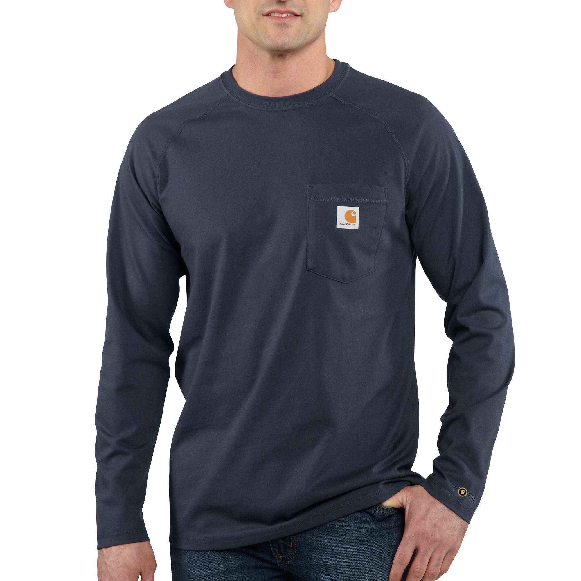 Men's Long Sleeve Force Cotton Tee, Navy, swatch
