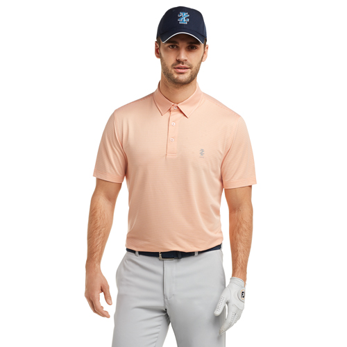 Men's Gingham Golf Polo, Orange, swatch
