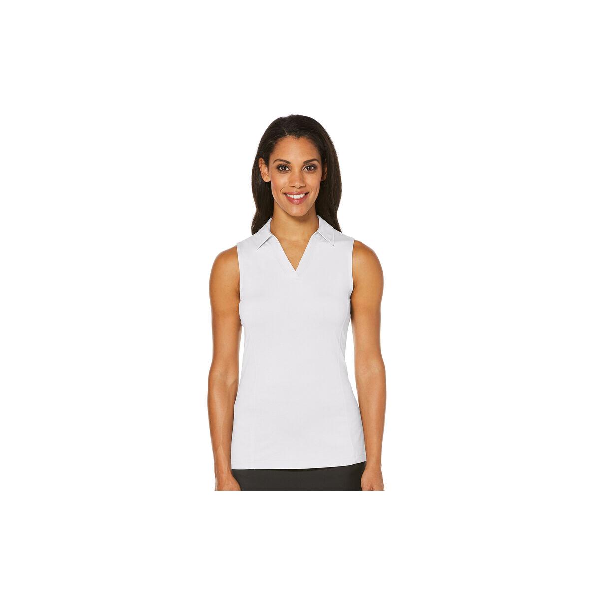 Women's Sleeveless AirFlux Breathable Polo, White, swatch