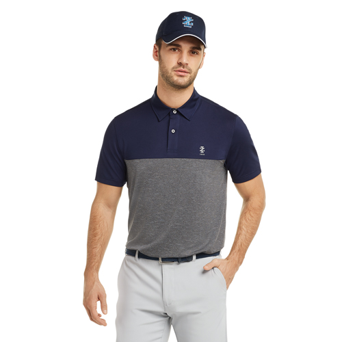 Men's Qualifier Color Block Golf Polo, Black/Gray, swatch