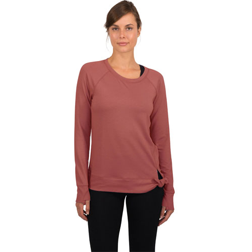 Women's Terry Crew Neck With Side Knot, Red, swatch