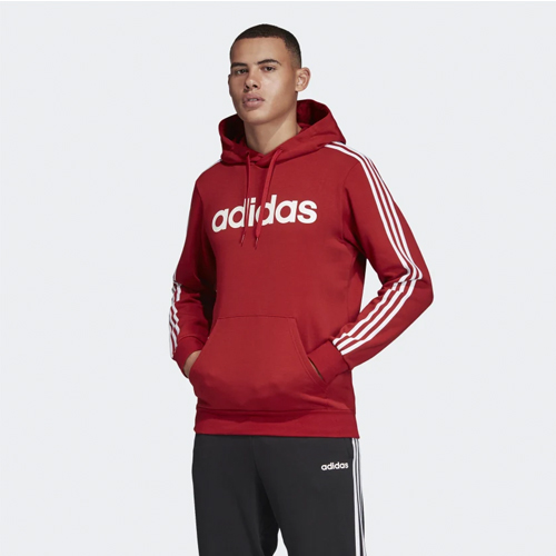 Men's Essentials 3-Stripes Pullover Hoodie, Dk Red,Wine,Ruby,Burgandy, swatch