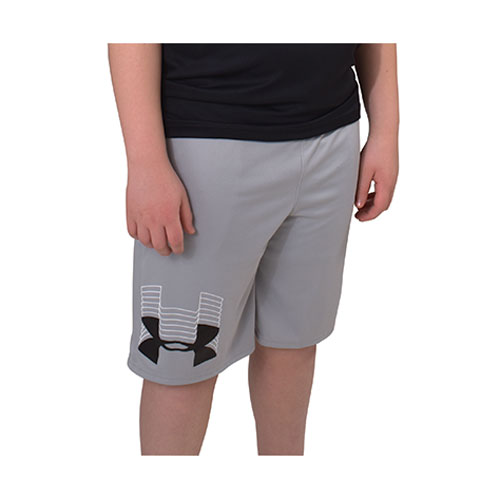 Boys' Prototype Logo Shorts, Heather Gray, swatch
