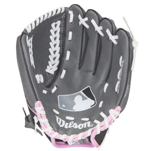 "Youth A150 MLB Series 10.5"" Baseball Glove, Pink/Black, swatch"