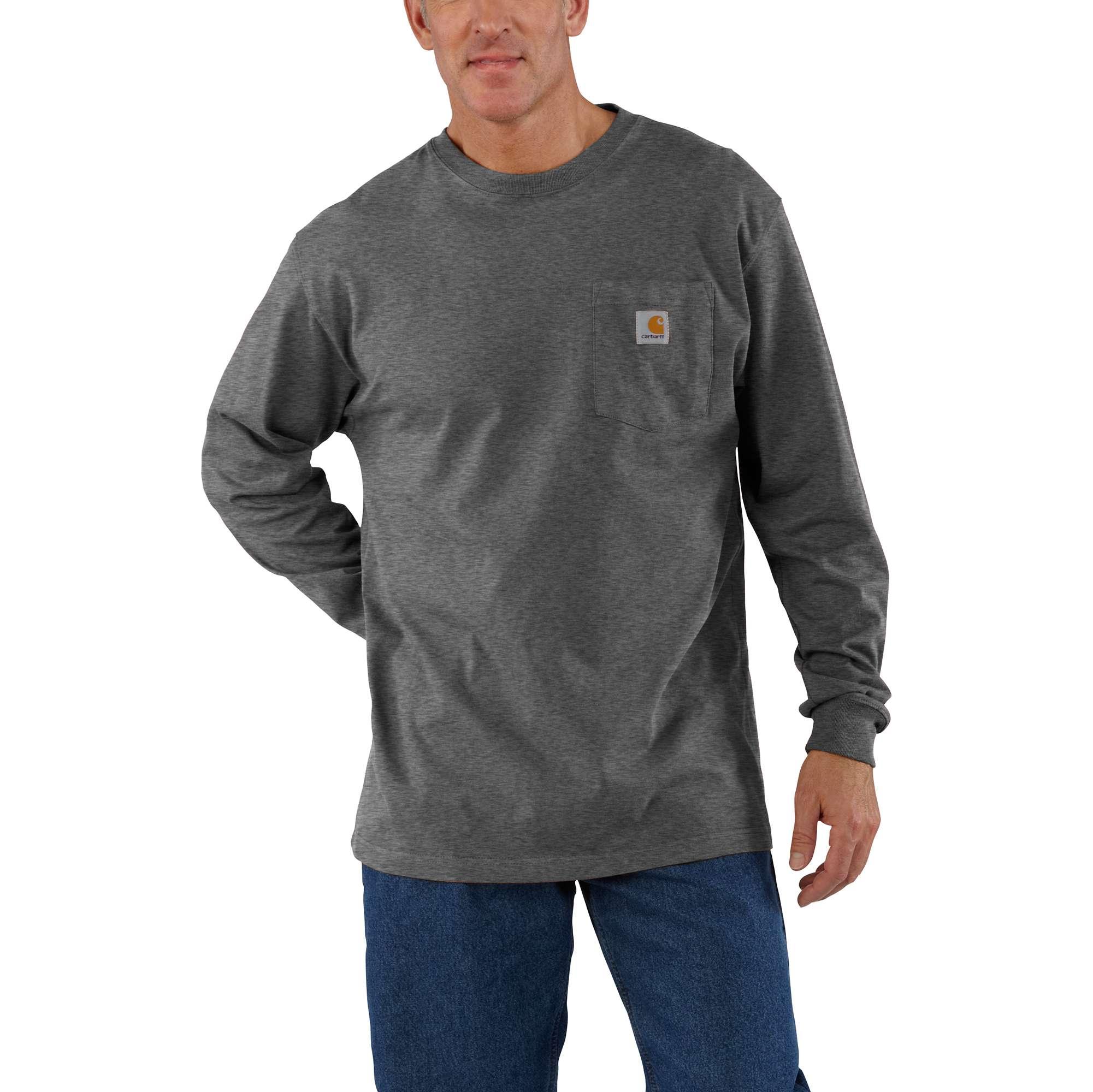 Men's Workwear Long Sleeve Pocket T-Shirt, Dark Gray,Pewter,Slate, swatch