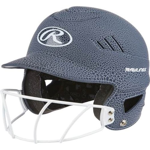 Crackle Softball Helmet with Face Mask, White/Black, swatch