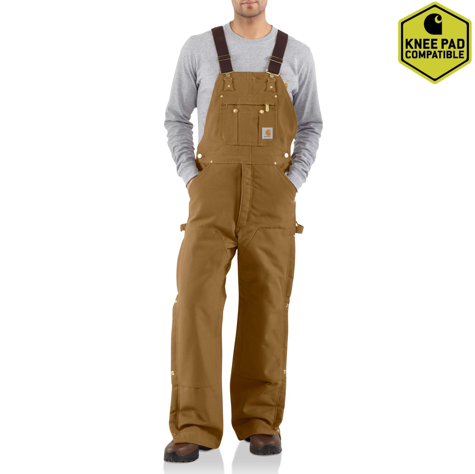 Duck Zip-to-Thigh Bib Overall/Quilt Lined, Brown, swatch