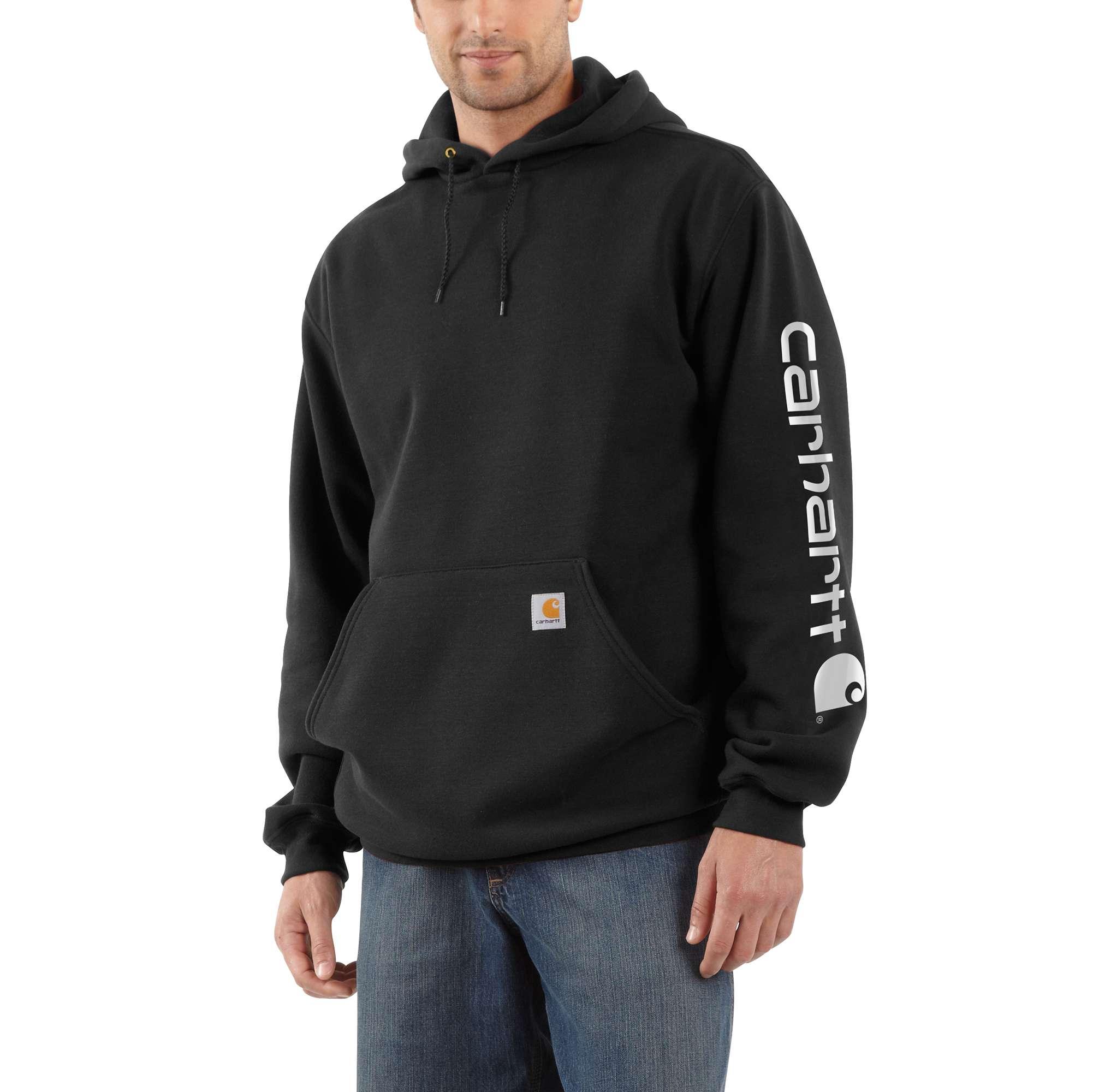 Men's Signature Sleeve Logo Hooded Sweatshirt, Black, swatch
