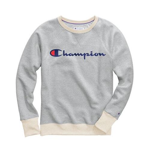 Women's Powerblend Fleece Crewneck Sweater, Heather Gray, swatch