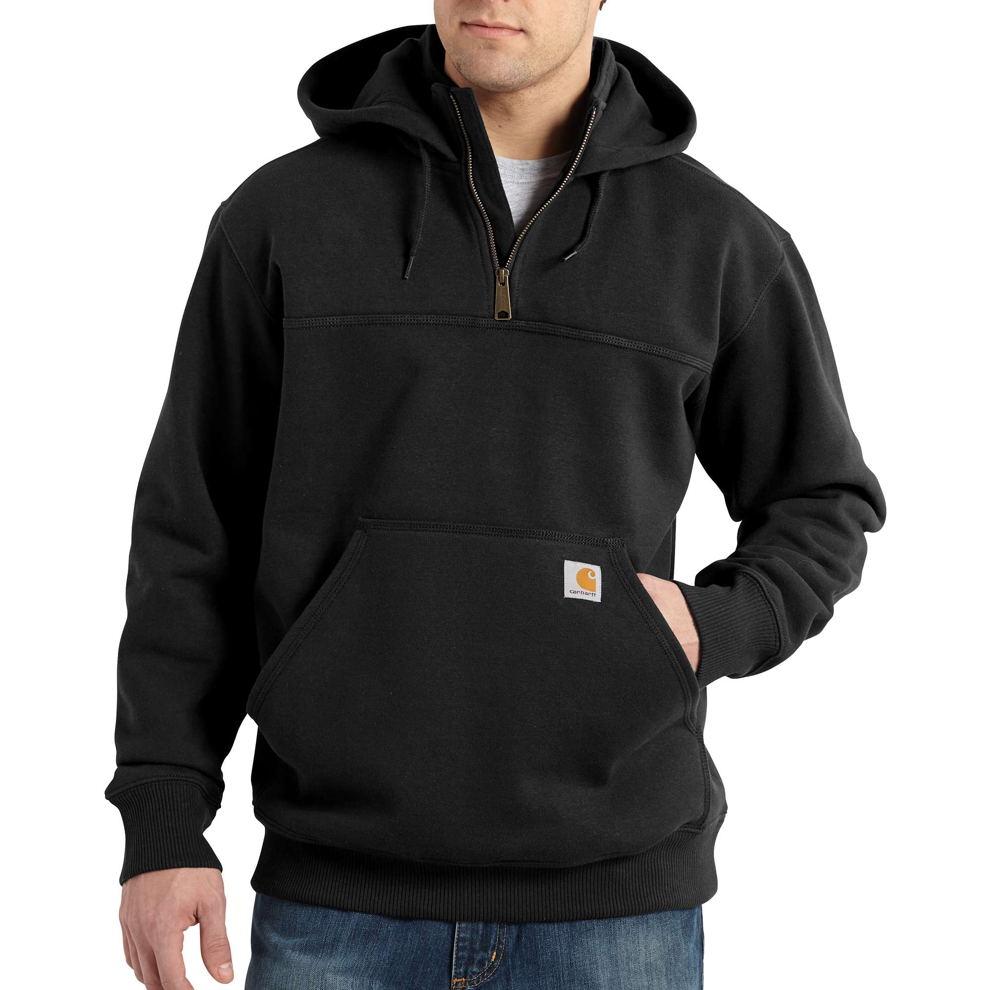 Men's Raindefender Paxton Heavyweight Hooded Zip Mock Sweatshirt, Black, swatch