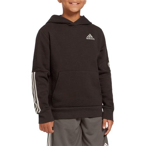Boys' 3-Stripe Pullover Hoodie, Black, swatch